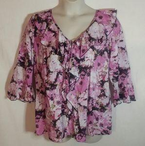 Dressbarn Pink Floral Ruffle Blouse